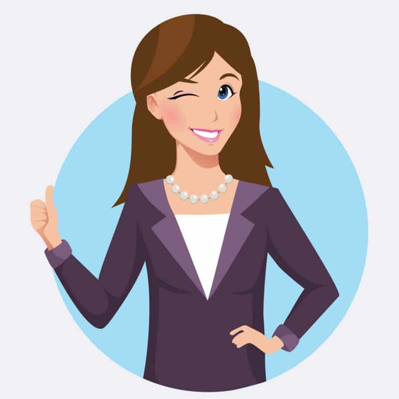 business women copywriting thumbs up